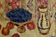 """""""Natură statică cu prune și mere"""". Ulei pe carton"""