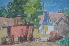 """Ioan Cosma – """"Peisaj cu case vechi"""". Ulei pe carton"""