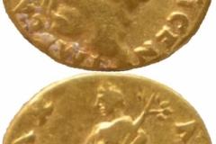 Aureus (avers-revers) emis de Vespasianus (73 d. Chr), descoperit în castrul roman de la Buciumi.